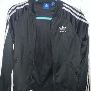 Adidas black and white striped track jacket!!